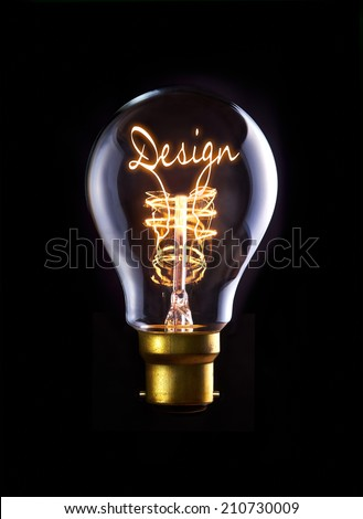 Design concept in a filament lightbulb. - stock photo