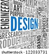 Design concept in tag cloud on white - stock photo