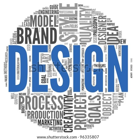 Design concept in word tag cloud on white background - stock photo