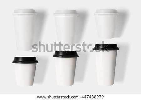 Design concept of mockup coffee cup set isolated on white background. Copy space for text and logo. Clipping Path included on white background. - stock photo