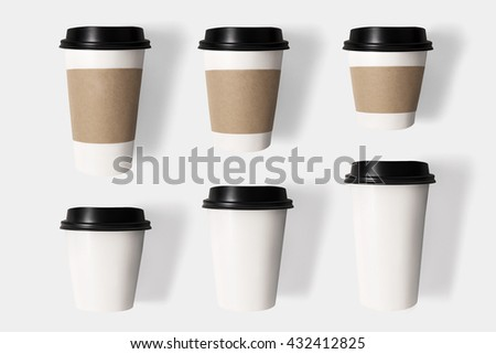 Design concept of mockup coffee cup set on  isolated on white background. Copy space for text and logo. Clipping Path included isolated on white background. - stock photo