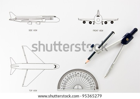 Design drawing airplane. - stock photo