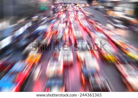 design element. hi-res  image city traffic jam blurred - stock photo