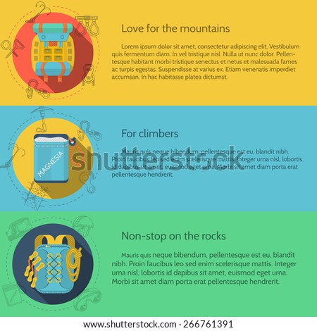 Design elements for rock climbing and hiking outfit on colored backgrounds with sample text for your business or website. - stock photo
