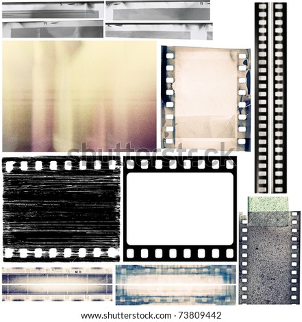 Design elements set, film borders, textures. - stock photo