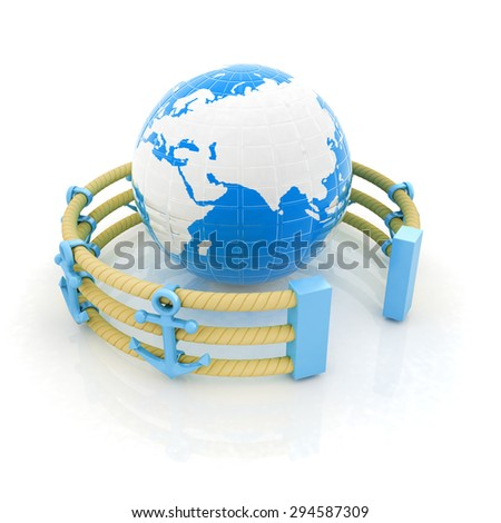 Design fence of anchors on the ropes and Earth in the center