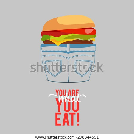 Design Illustration Concepts People Eat Fast Food with Style Typography. Concepts Web Banner and Printed Materials. Trendy and Beautiful. Text You Are What You Eat - stock photo