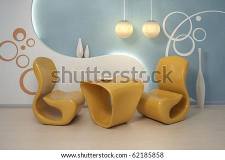 Design interior. Modern orange armchairs - stock photo