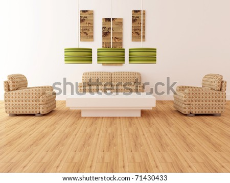 Design interior of elegance modern living room, brown armchairs with lamps and coffee table, rendering - stock photo