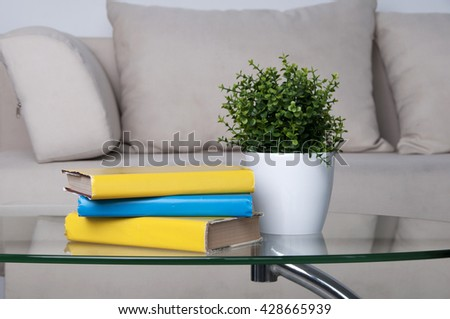 Design interior of living room with sofa, a glass table, a stack of books - stock photo