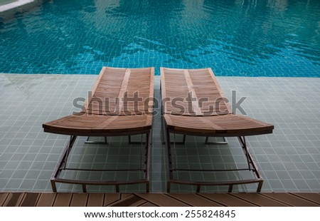 design interior of swimming pool outdoor - stock photo