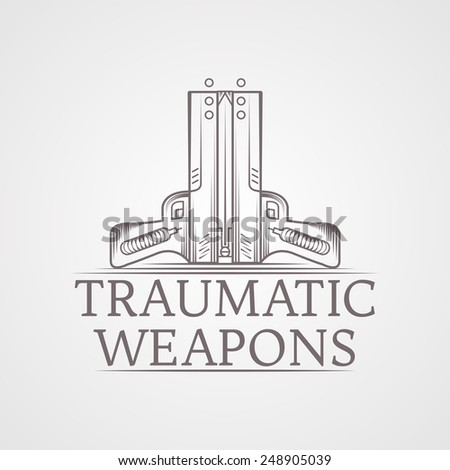 Design logotype with gray vintage line style traumatic air guns. Illustration for self defense with words Traumatic Weapons for some business or website on gray background. Logo - stock photo