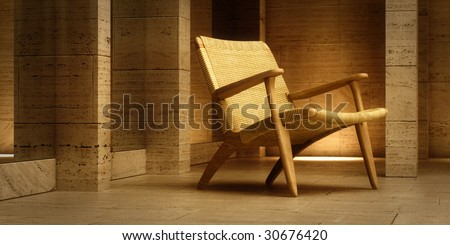Design lounge chaise in stone-clad room (3D render) - stock photo