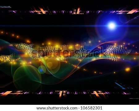 Design made of abstract sine waves and design elements to serve as backdrop for projects related to modern computing, virtual reality and signal processing - stock photo