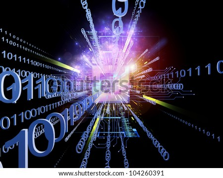 Design made of CPU graphic and abstract design elements to serve as backdrop for projects related to digital equipment, computing and modern technologies - stock photo