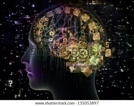 Design made of outline of human head and symbolic elements to serve as backdrop for projects related to knowledge, science, technology and education