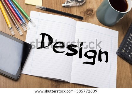 Design - Note Pad With Text On Wooden Table - with office  tools