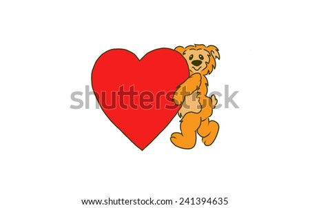 Design of a Bear holding a large Valentine heart. - stock photo