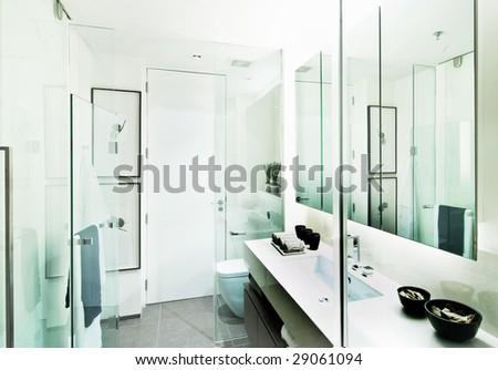 Design of a modern bathroom - stock photo