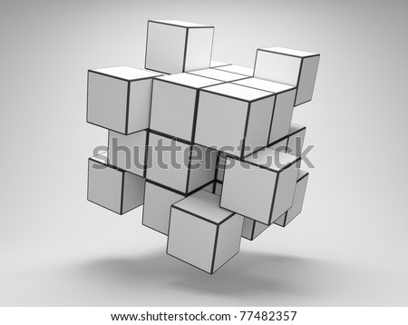 Design of abstract cubes - stock photo