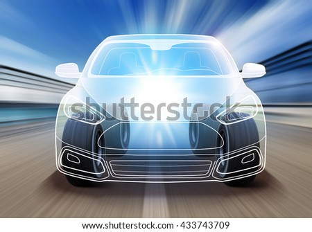 design of advanced car and wheels rushes on road with high speed - stock photo