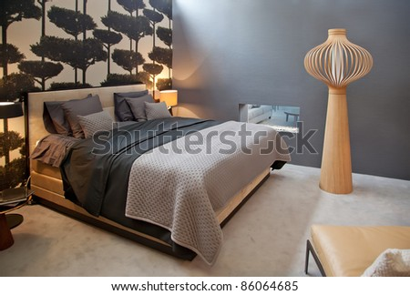 design of bed room in monochrome gamma - stock photo