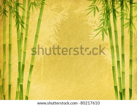 design of chinese bamboo trees with texture of handmade paper - stock photo