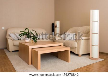 Design of comfortable living room - stock photo