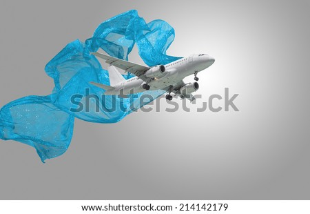 Design of commercial airliner with blue stripes on gray background - stock photo