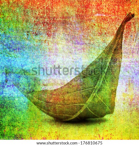 Design of fallen leaf on painting background - stock photo