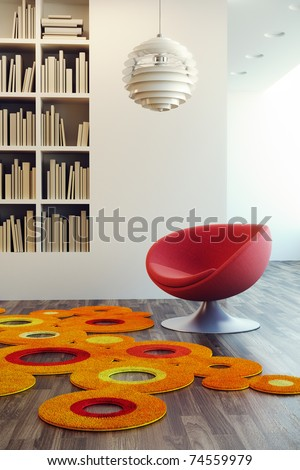 design of lounge room, 3d render - stock photo