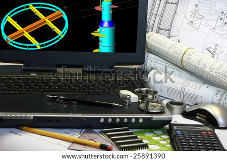 Design of pressure vessel. Note display in the monitor is my original works. - stock photo