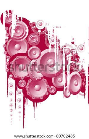 Design of red music audio speakers. - stock photo