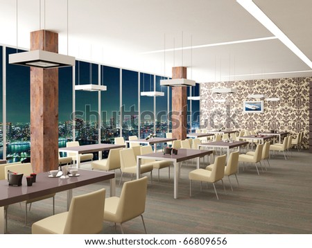 Design of restaurant in modern style and beautiful colours