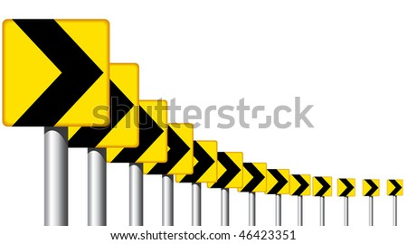 Design of road sign arrows on a bend - stock photo