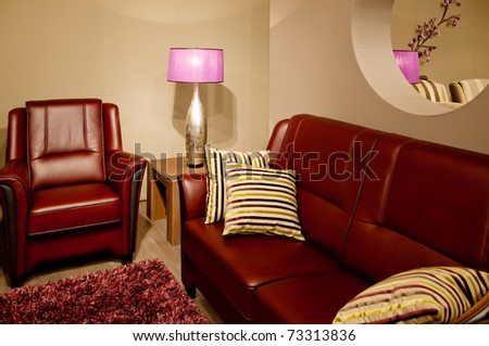 design of room interior with warm colors - stock photo