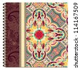 design of spiral ornamental notebook cover. Raster version - stock photo