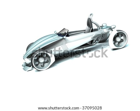 Design of the conceptual car. On a white background - stock photo