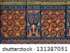 Design on a hut in Tana Toraja region, Sulawesi, Indonesia - stock photo