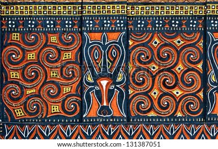 Design on a hut in Tana Toraja region, Sulawesi, Indonesia - stock photo