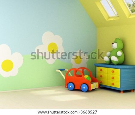 Design on the wall is my own image. Freshly painted room for a baby with the flower design on the wall - stock photo