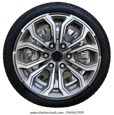 Design pattern of car wheel, tires car wheel, car wheel on white background - stock photo
