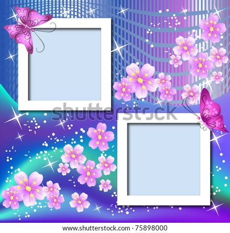 design photo frames with flowers and butterfly raster version