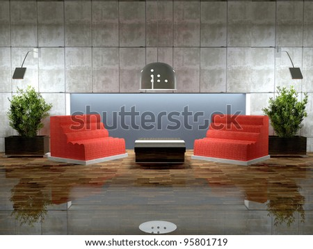 Design scene of modern lounge room, 3d render.