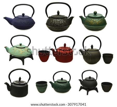 Design set with various metal japanese tea pots and cups, retro kitchen objects isolated on white - stock photo