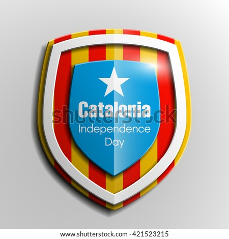 Design shield Origami banner  with the historic flag and the coat of arms of Catalonia - stock photo