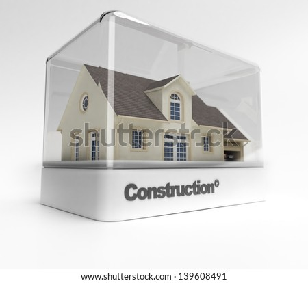 Design showcase with the word construction exhibiting a residential house - stock photo