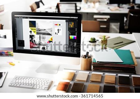 Design Studio Creativity Ideas Wood Palette Decoration Concept - stock photo