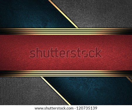 Design template - Abstract iron background, with a red nameplate in middle. - stock photo