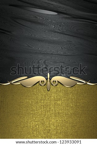 Design template - Black rich texture with golden plate for text. - stock photo
